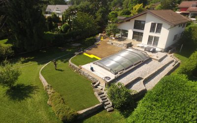 Aménagements extérieurs après rénovation d'une villa